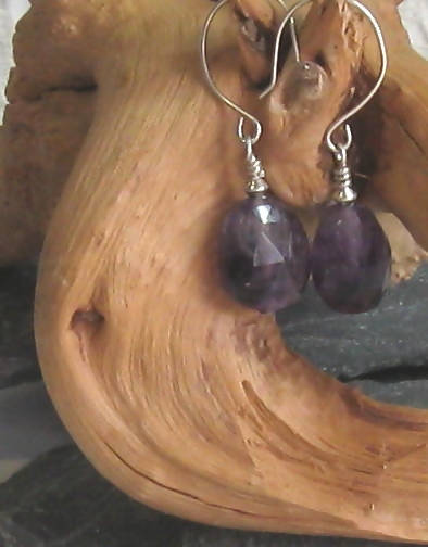 Amethyst Gemstone Argentium Sterling Silver Earrings