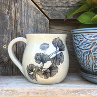 Handmade Clay Mug Cream Black Floral