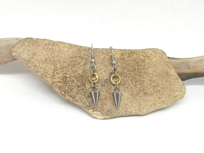 Silver Toned Spike Earrings with Gold Toned Hoop