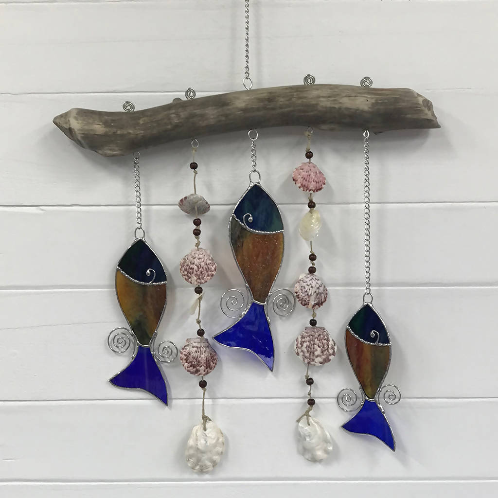 Stained Glass Fish Trio With Shells & Driftwood Mobile