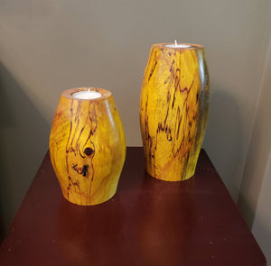 Handmade Birch Wood Pillar Candle Holders Set