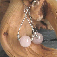 Madgascar Rose Quartz Gemstone Argentium Sterling Silver Earrings