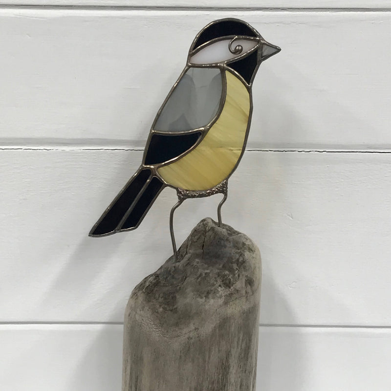 Stained Glass Bird on Driftwood - Chickadee