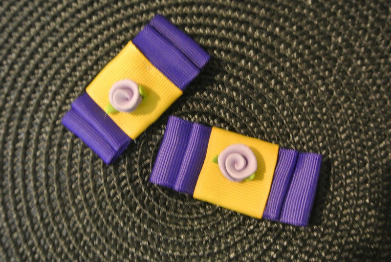 Bow Hair Clips with Rose - Purple & Yellow