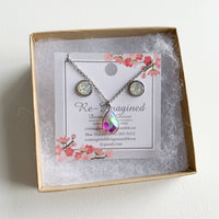 Druzy Geode Earring & Crystal Pendant Necklace Set