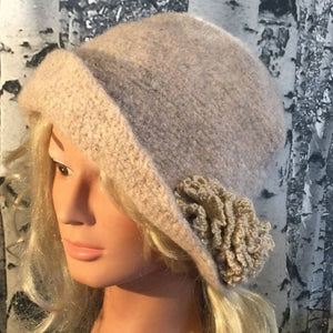 Hand Felted Wool Flapper Style Hat with Flower - Natural Mix