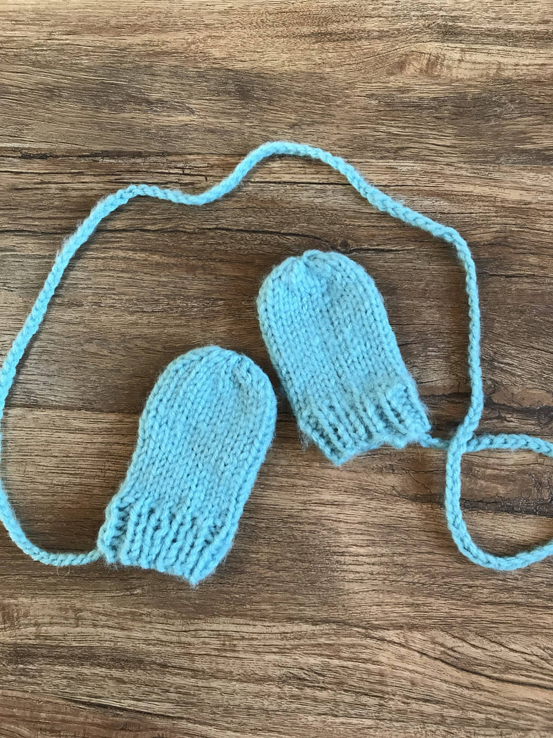 Knit Thumbless Baby Mittens 12-24 Months