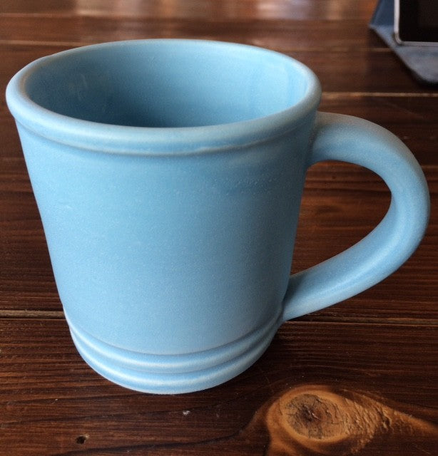 Blue Pottery Mug Bottom Stripes