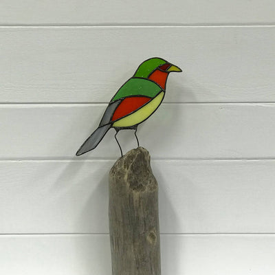 Stained Glass Bird on Driftwood - Green Headed Parrot
