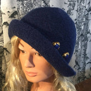 Hand Felted Wool Flapper Hat with Button - Navy