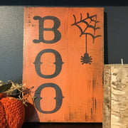 Boo Halloween Painted Wall Sign Orange