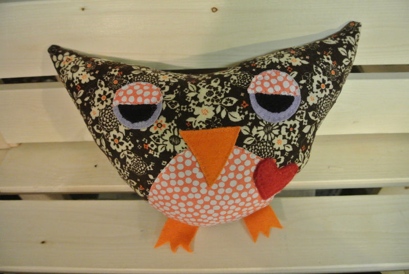 Lg Stuffed Owl with Orange Spots