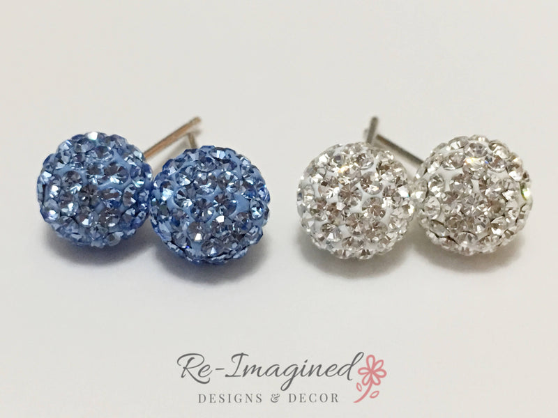 12mm Pave Sparkleball Stud Earrings