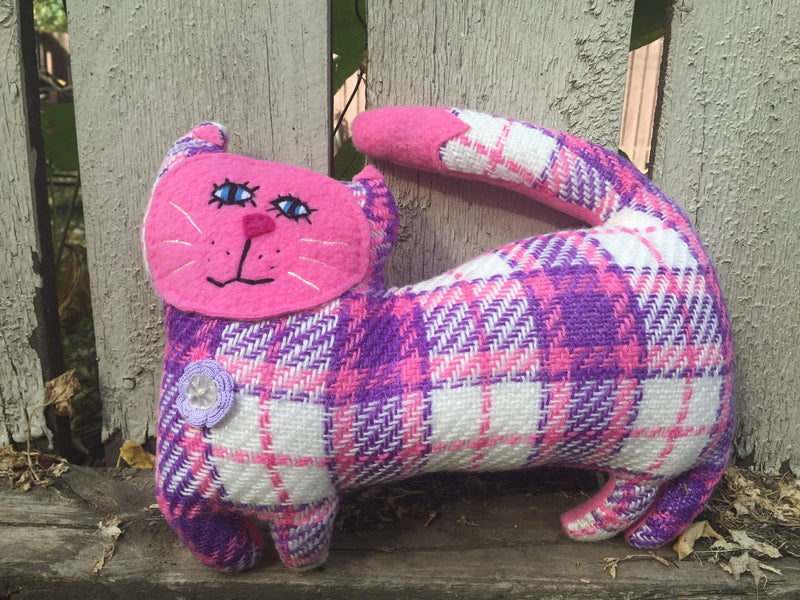 Cat Hand Stuffed Animal Vintage Plaid with Pink Face