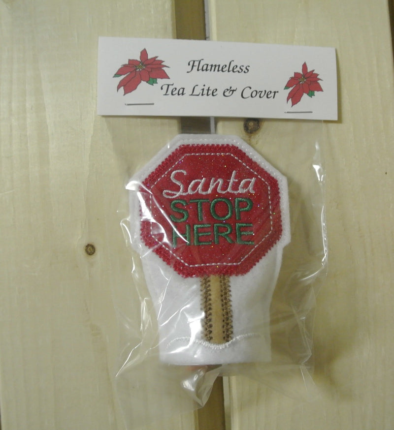 Santa Stops Here Flameless Tea Lite and Cover