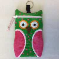 Fabric Embroidered Pouch with Zipper - Hooty Owl