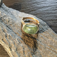 BC Jade Natural Gemstone Sterling Silver Hand Twisted Ring Size 5