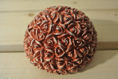 Flowered Half Sphere Concrete Paper Weight