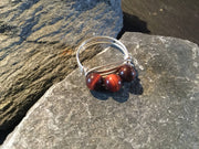 Red Tiger Eye Natural Gemstone Hand Twisted Sterling Silver Ring Size 8