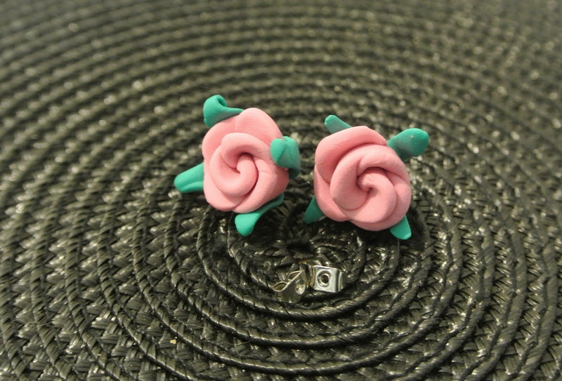 Pink Polymer Clay Rose Stud Earring