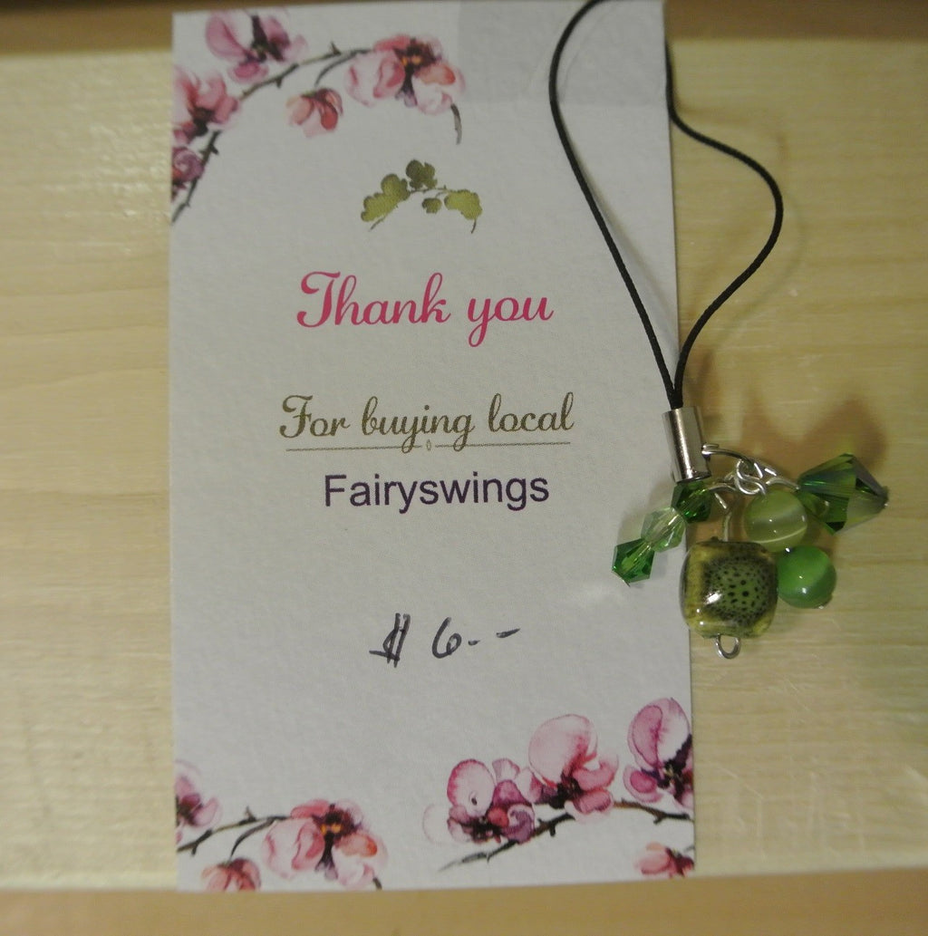 Green Spotted Bead Cell Phone Charm