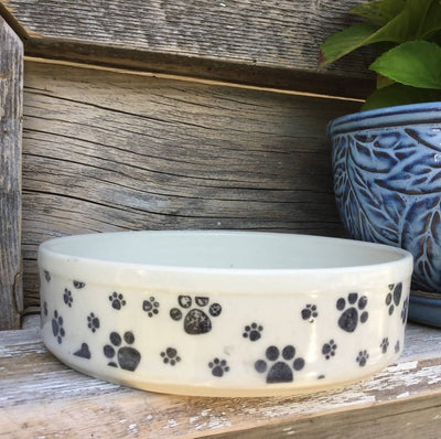 Clay Dog Bowl Paw Motif