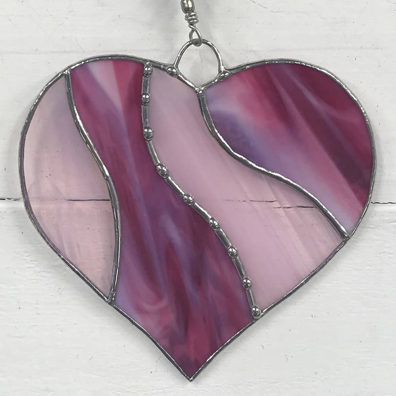 Stained Glass Heart in Pink Suncatcher