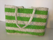 Crocheted Recycled Plastic Tote Bag Bright Green & White