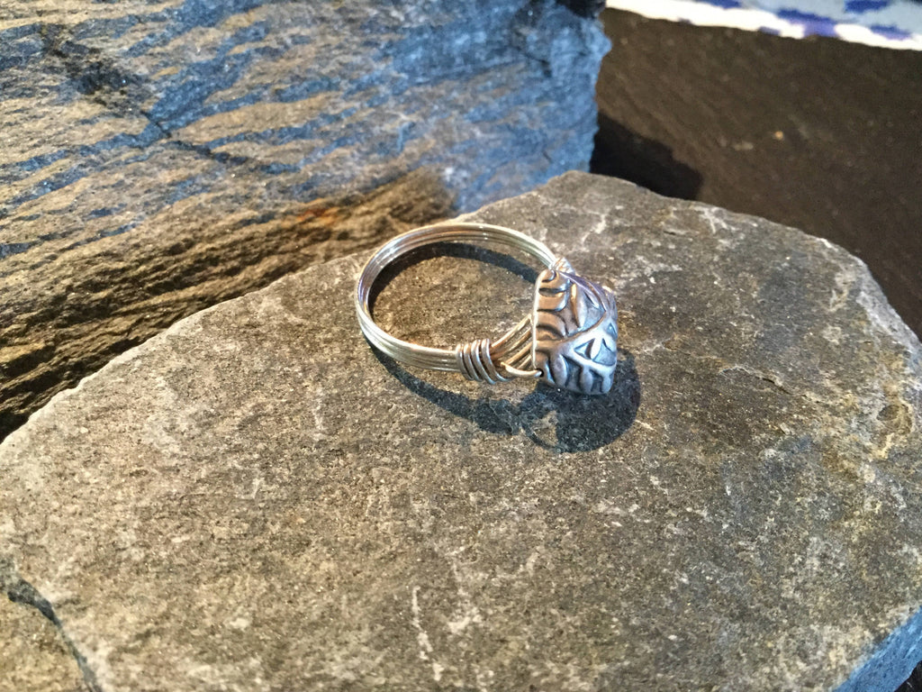 Bali Silver Bamboo Leaf Hand Twisted Sterling Silver Ring Size 8
