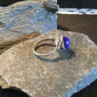 Lapis Lazuli Natural Gemstone Hand Twisted Sterling Silver Ring Size 7