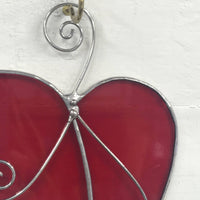 Stained Glass Red Heart Suncatcher