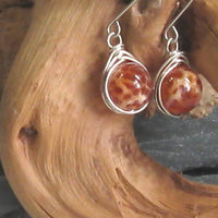 Crab Fire Agate Gemstone Argentium Sterling Silver Earrings