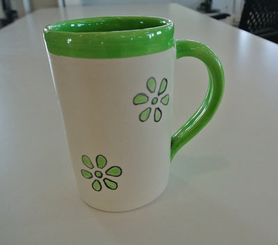 Green Flower Pottery Mug