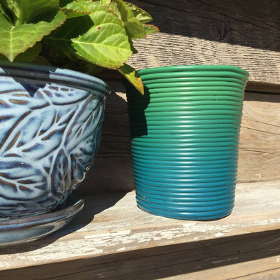 Recycled Plastic Decorative Coiled Containers Medium Wide Blue-Greens