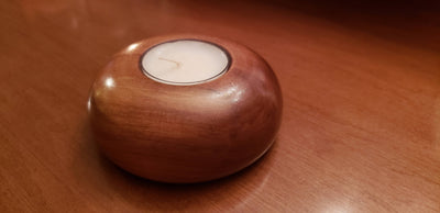 Wooden Tea Light Candle Holder - Golden Brown Maple