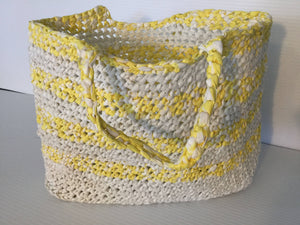 Crocheted Recycled Plastic Tote Bag Yellow & White Lightweight