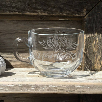 Etched Glass Cappuccino Mug Namaste