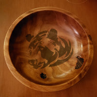 Handmade Manchurian Elm Wood Bear Themed Bowl
