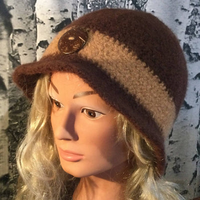 Hand Felted Wool Downton Style Hat with Button - Chestnut & Sesame