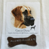 Waffle Tea Towels White Dog Themed Applique