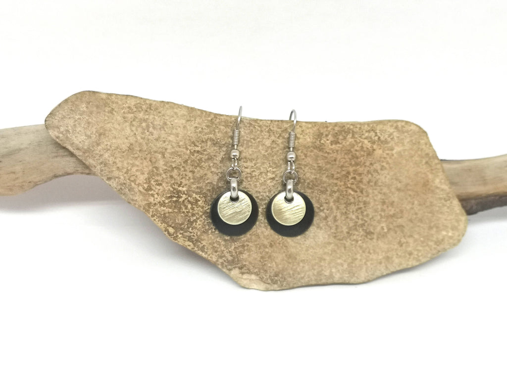 Small Metal Disc Earrings - Gold & Black Tones