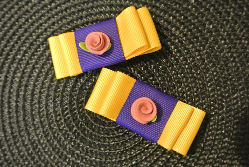 Bow Hair Clips with Rose - Yellow & Purple