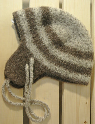 100% Wool Earflap hat - oak tweed/brown