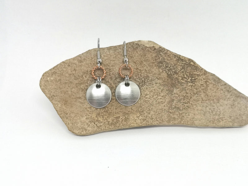 Silver Tone Disc & Copper Tone Twisted Ring Metal Earrings