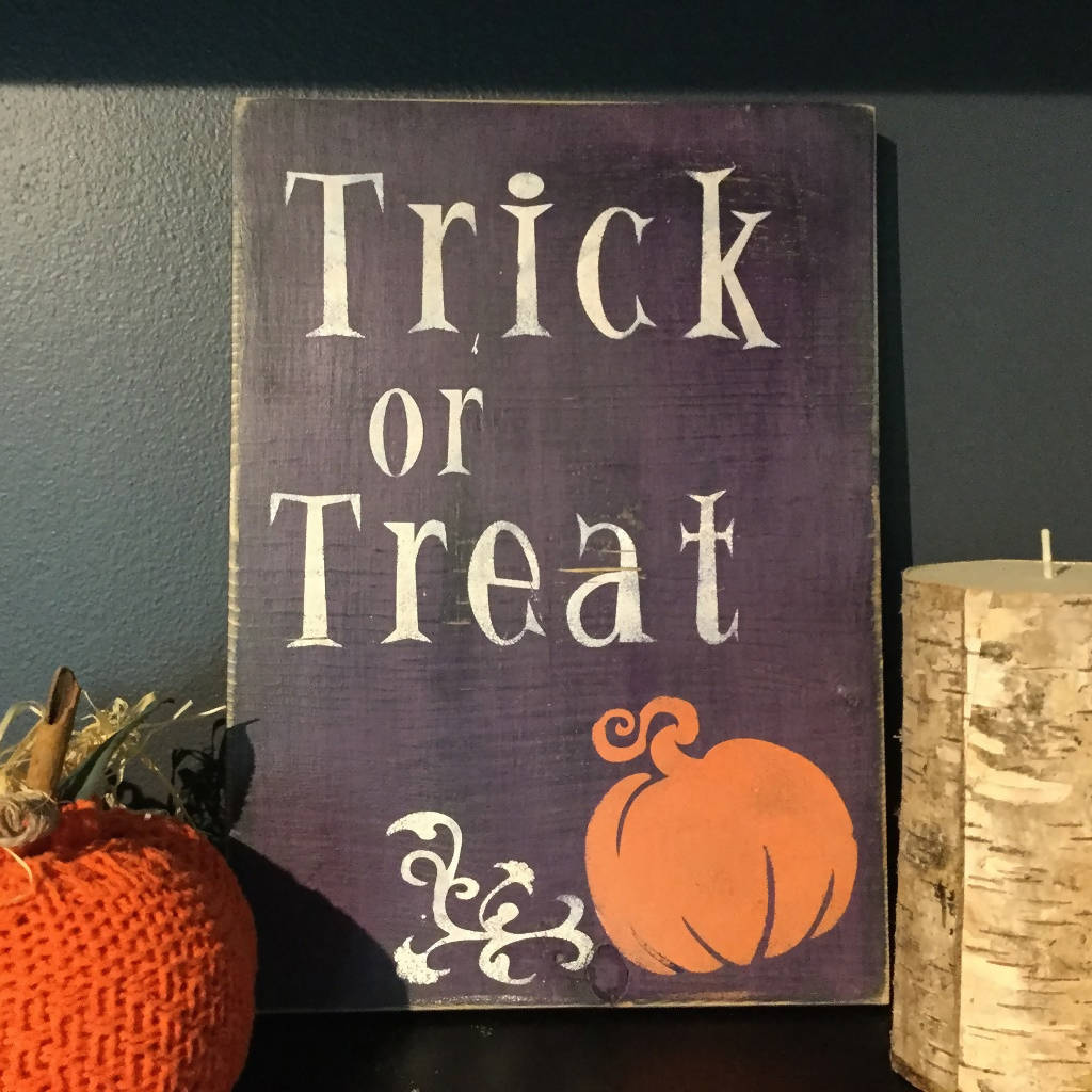 Trick or Treat Halloween Painted Wall Sign Purple