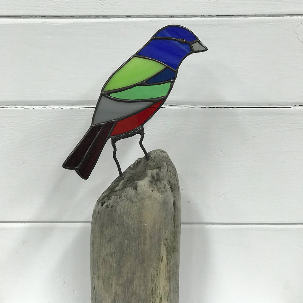 Stained Glass Bird on Driftwood - Gouldian Finch