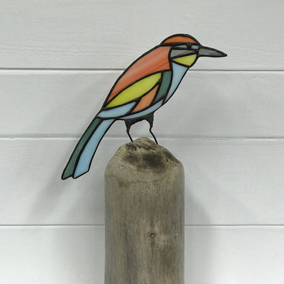 Stained Glass Bird on Driftwood - Flycatcher