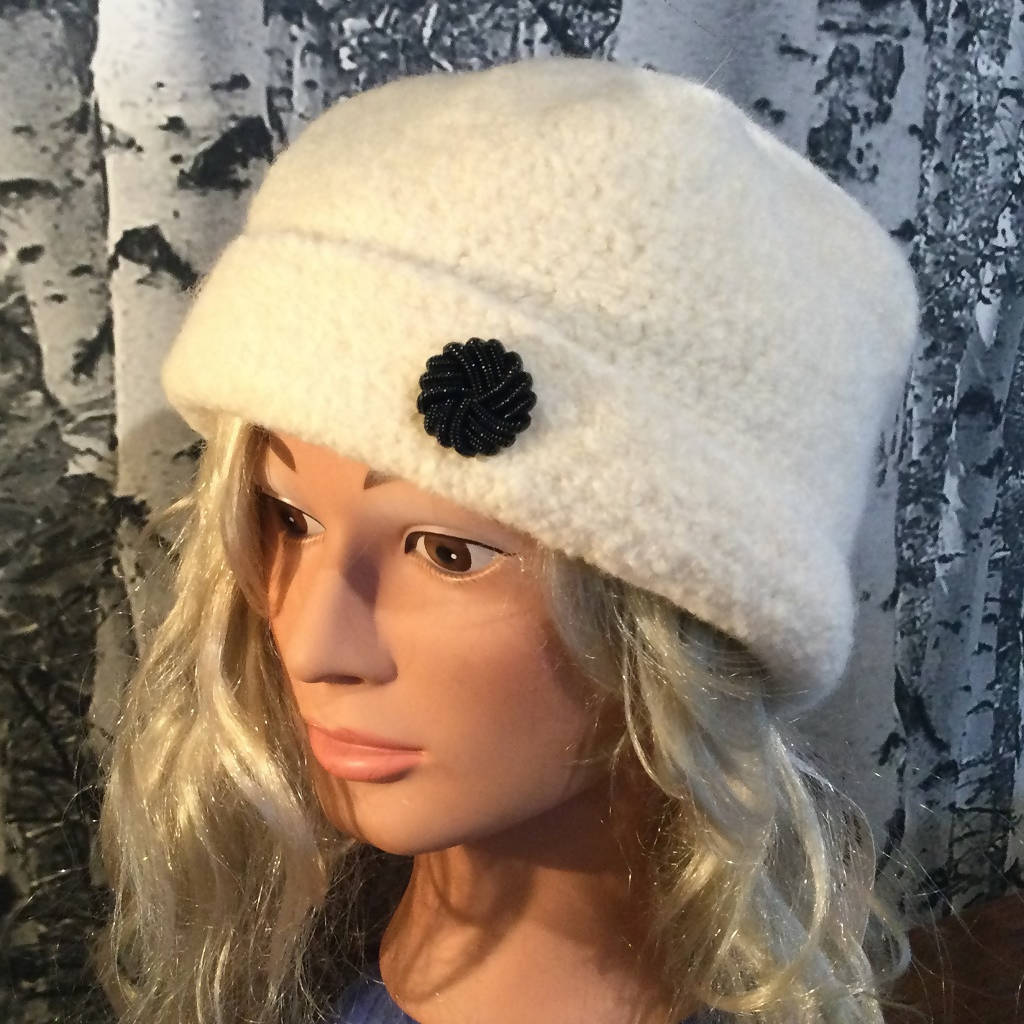 Hand Felted Wool Square Top Hat with Button - Aran
