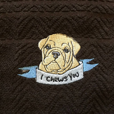 Embroidered Chevron Terry Dog Themed Hand Towels