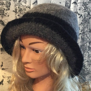Hand Felted Wool Fedora Style Hat - Grey & Black